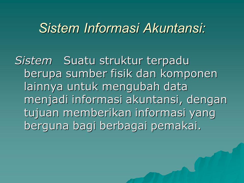 Sistem Informasi Akuntansi: Sistem Suatu struktur terpadu berupa sumber fisik dan komponen lainnya untuk mengubah data menjadi informasi akuntansi, dengan tujuan memberikan informasi yang berguna bagi berbagai pemakai.