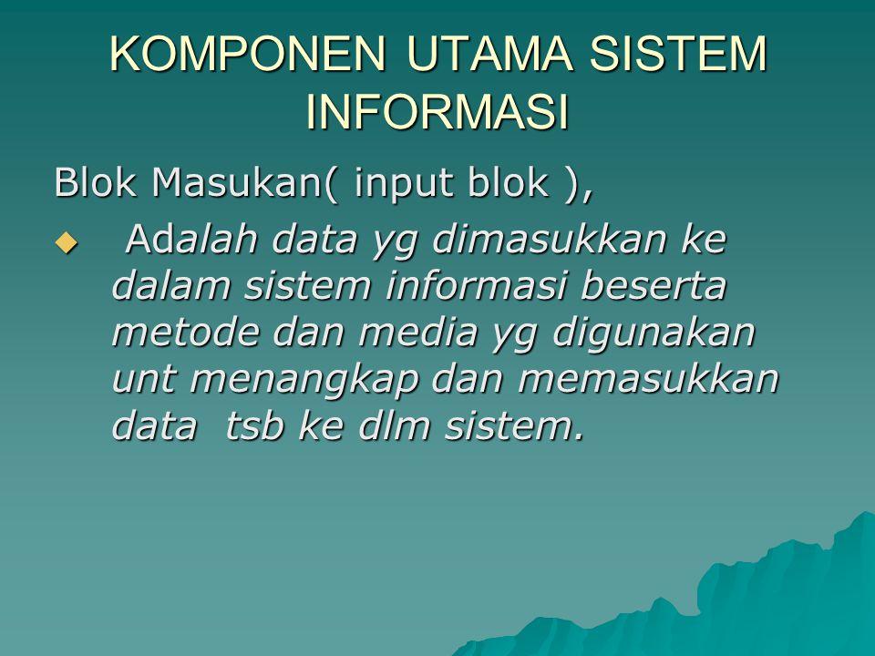 KOMPONEN UTAMA SISTEM INFORMASI Blok Masukan( input blok ),  Adalah data yg dimasukkan ke dalam sistem informasi beserta metode dan media yg digunakan unt menangkap dan memasukkan data tsb ke dlm sistem.