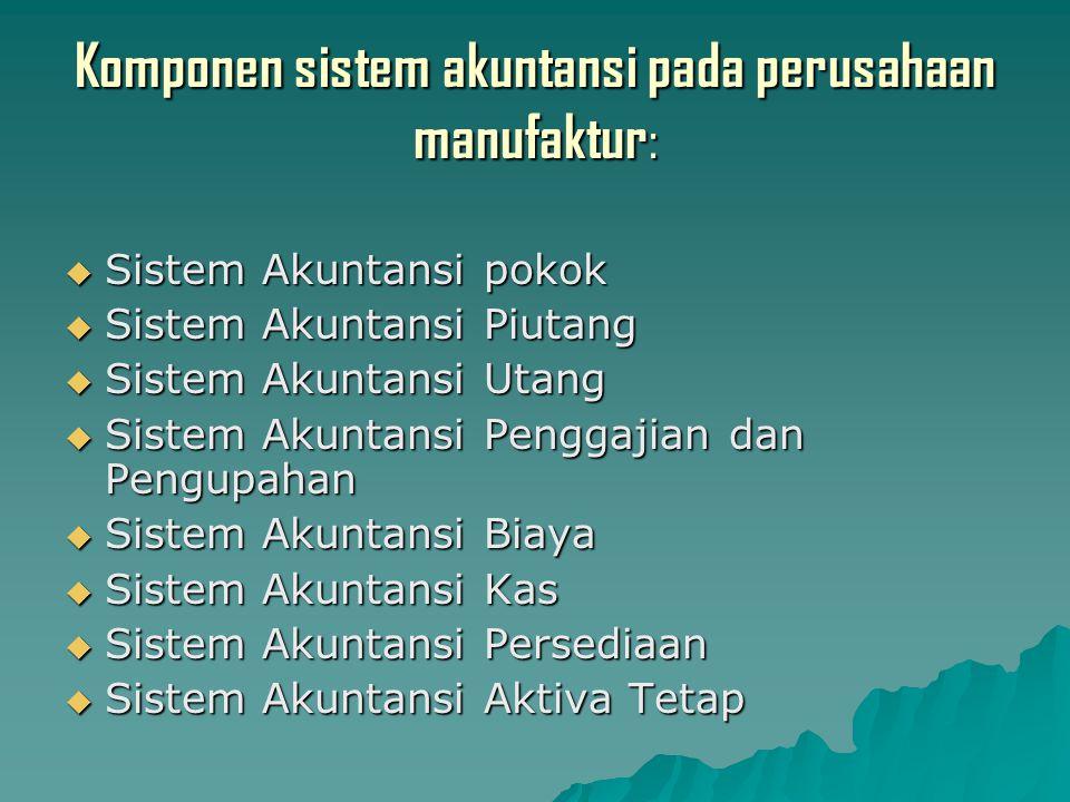 Komponen sistem akuntansi pada perusahaan manufaktur :  Sistem Akuntansi pokok  Sistem Akuntansi Piutang  Sistem Akuntansi Utang  Sistem Akuntansi Penggajian dan Pengupahan  Sistem Akuntansi Biaya  Sistem Akuntansi Kas  Sistem Akuntansi Persediaan  Sistem Akuntansi Aktiva Tetap