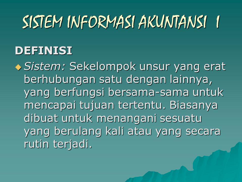 DEFINISI  Sistem: Sekelompok unsur yang erat berhubungan satu dengan lainnya, yang berfungsi bersama-sama untuk mencapai tujuan tertentu.