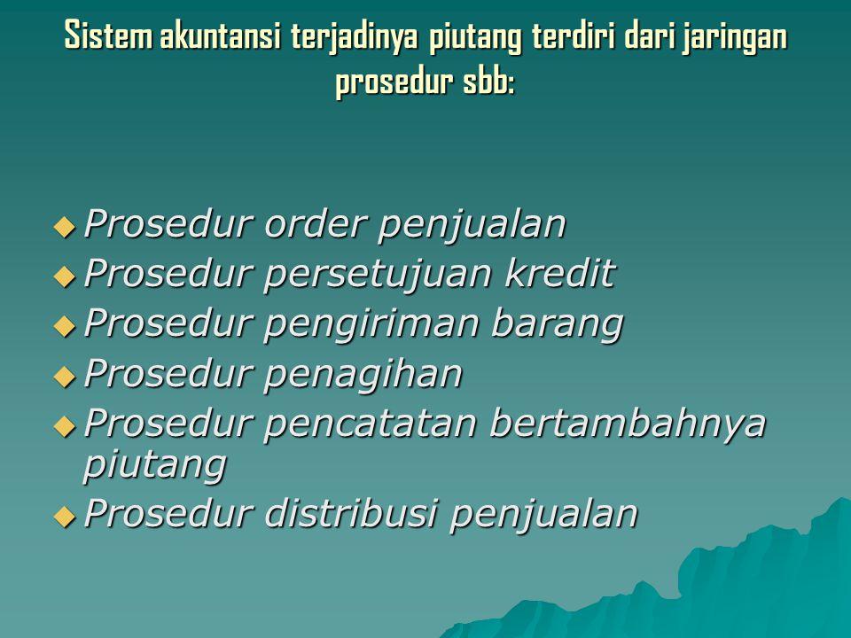 Sistem akuntansi terjadinya piutang terdiri dari jaringan prosedur sbb:  Prosedur order penjualan  Prosedur persetujuan kredit  Prosedur pengiriman barang  Prosedur penagihan  Prosedur pencatatan bertambahnya piutang  Prosedur distribusi penjualan