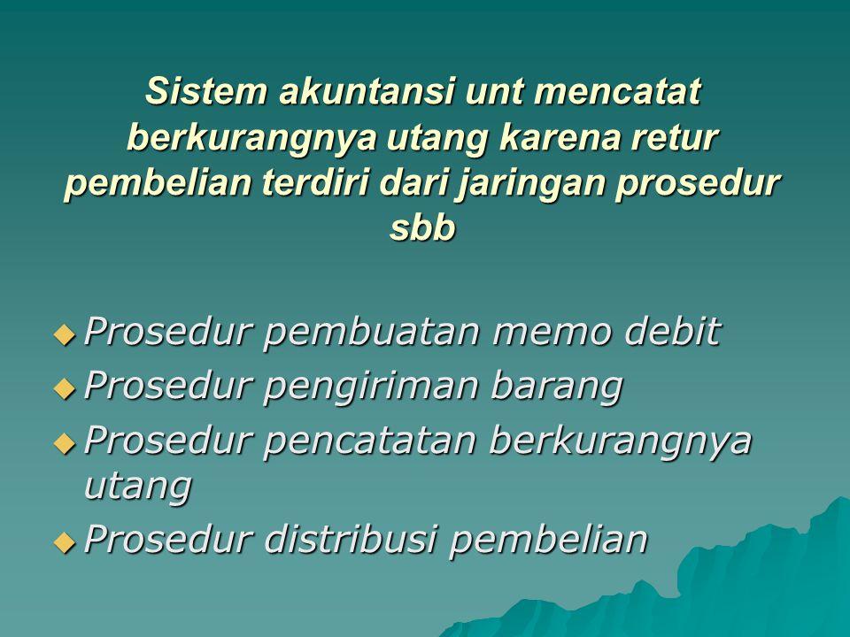 Sistem akuntansi unt mencatat berkurangnya utang karena retur pembelian terdiri dari jaringan prosedur sbb  Prosedur pembuatan memo debit  Prosedur pengiriman barang  Prosedur pencatatan berkurangnya utang  Prosedur distribusi pembelian