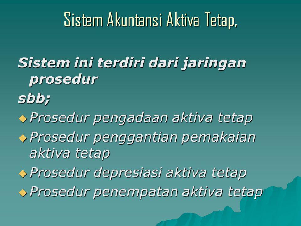 Sistem Akuntansi Aktiva Tetap, Sistem ini terdiri dari jaringan prosedur sbb;  Prosedur pengadaan aktiva tetap  Prosedur penggantian pemakaian aktiva tetap  Prosedur depresiasi aktiva tetap  Prosedur penempatan aktiva tetap