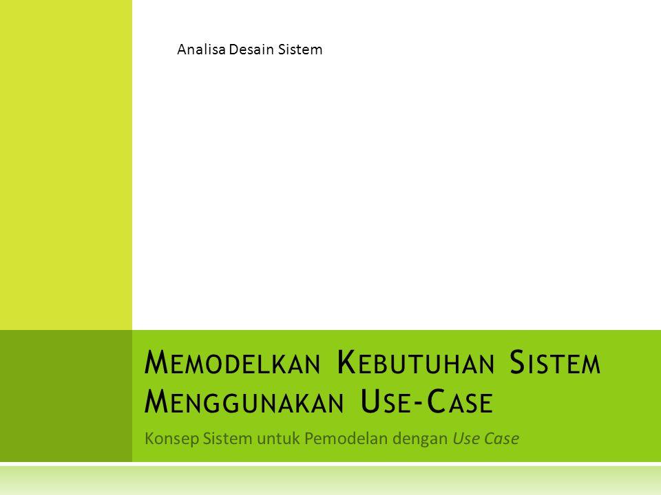 Konsep Sistem untuk Pemodelan dengan Use Case M EMODELKAN K EBUTUHAN S ISTEM M ENGGUNAKAN U SE -C ASE Analisa Desain Sistem