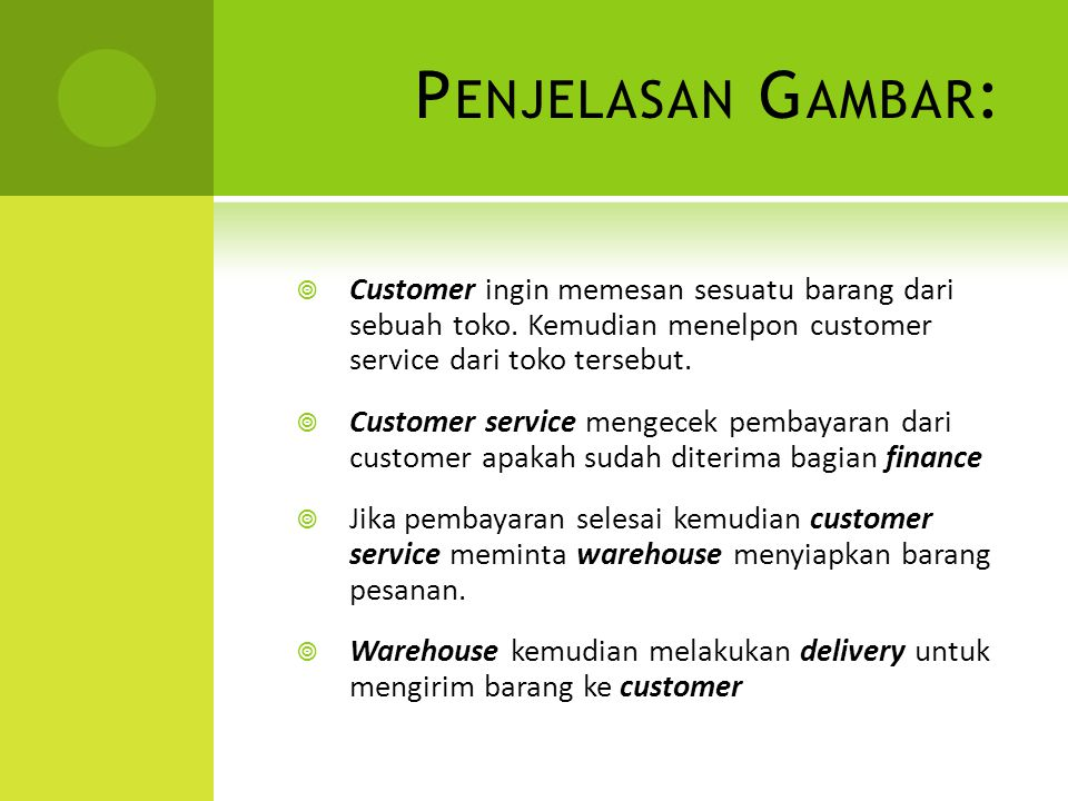 P ENJELASAN G AMBAR :  Customer ingin memesan sesuatu barang dari sebuah toko. Kemudian menelpon customer service dari toko tersebut.  Customer serv