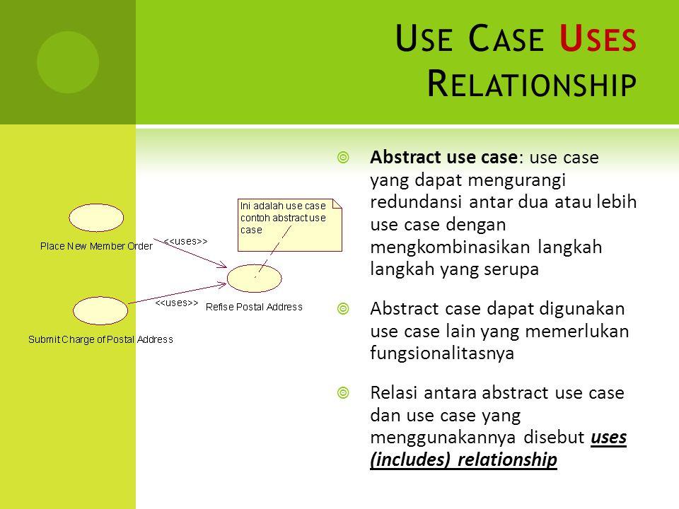 U SE C ASE U SES R ELATIONSHIP  Abstract use case: use case yang dapat mengurangi redundansi antar dua atau lebih use case dengan mengkombinasikan la