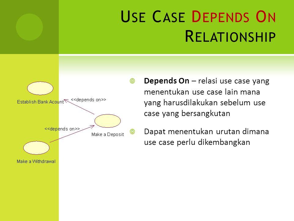 U SE C ASE D EPENDS O N R ELATIONSHIP  Depends On – relasi use case yang menentukan use case lain mana yang harusdilakukan sebelum use case yang bers
