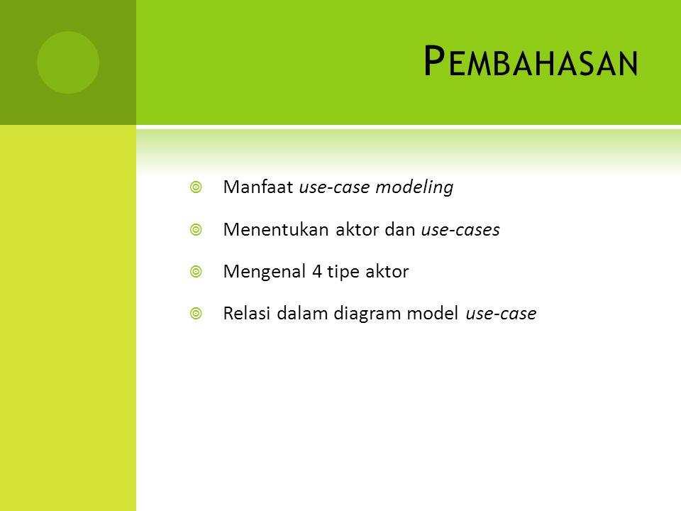 P EMBAHASAN  Manfaat use-case modeling  Menentukan aktor dan use-cases  Mengenal 4 tipe aktor  Relasi dalam diagram model use-case