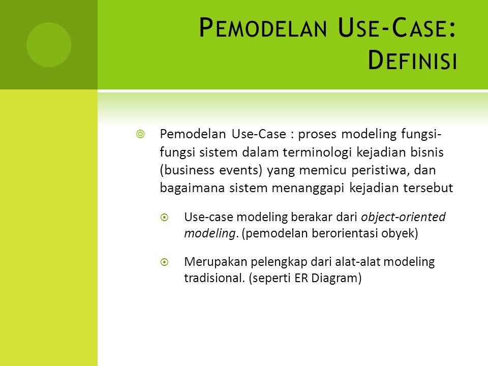P EMODELAN U SE -C ASE : D EFINISI  Pemodelan Use-Case : proses modeling fungsi- fungsi sistem dalam terminologi kejadian bisnis (business events) ya