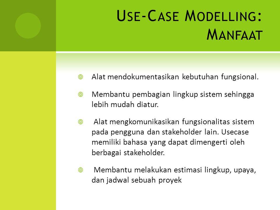 U SE -C ASE M ODELLING : M ANFAAT  Alat mendokumentasikan kebutuhan fungsional.  Membantu pembagian lingkup sistem sehingga lebih mudah diatur.  Al