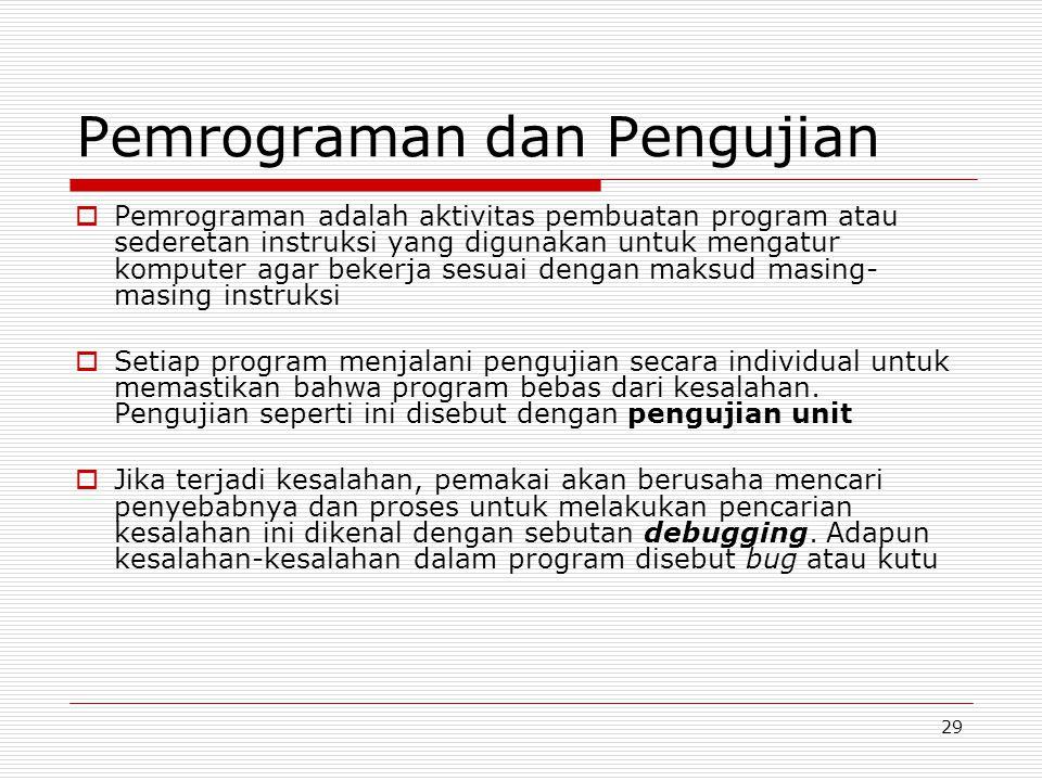 29 Pemrograman dan Pengujian  Pemrograman adalah aktivitas pembuatan program atau sederetan instruksi yang digunakan untuk mengatur komputer agar bek