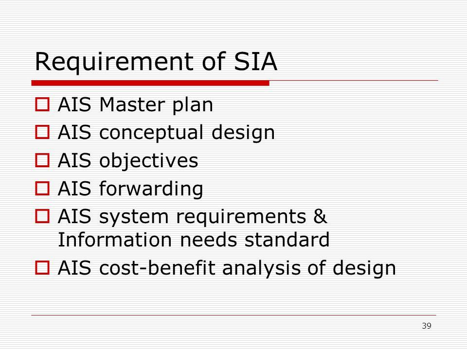 39 Requirement of SIA  AIS Master plan  AIS conceptual design  AIS objectives  AIS forwarding  AIS system requirements & Information needs standa