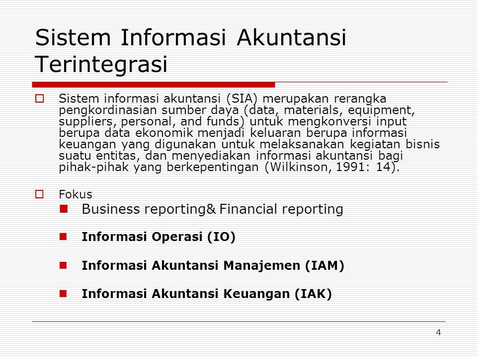 4 Sistem Informasi Akuntansi Terintegrasi  Sistem informasi akuntansi (SIA) merupakan rerangka pengkordinasian sumber daya (data, materials, equipmen