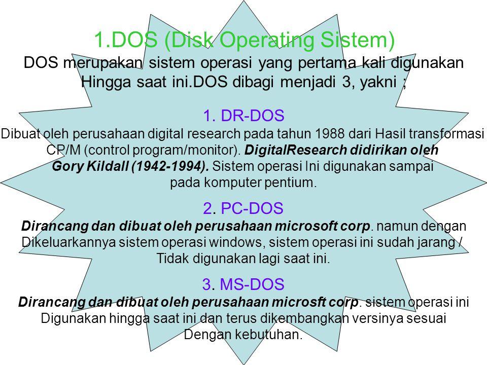 1.DOS (Disk Operating Sistem) DOS merupakan sistem operasi yang pertama kali digunakan Hingga saat ini.DOS dibagi menjadi 3, yakni ; 1.DR-DOS Dibuat oleh perusahaan digital research pada tahun 1988 dari Hasil transformasi CP/M (control program/monitor).