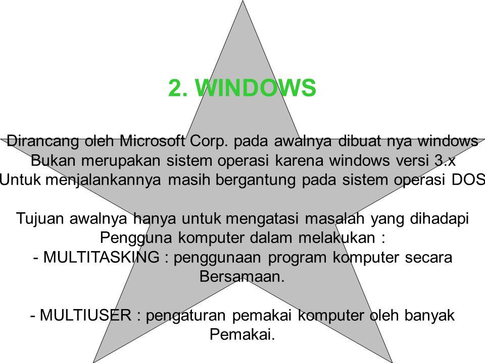 2.WINDOWS Dirancang oleh Microsoft Corp.