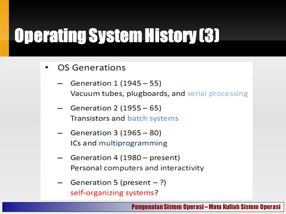 Operating System History (3) Pengenalan Sistem Operasi – Mata Kuliah Sistem Operasi