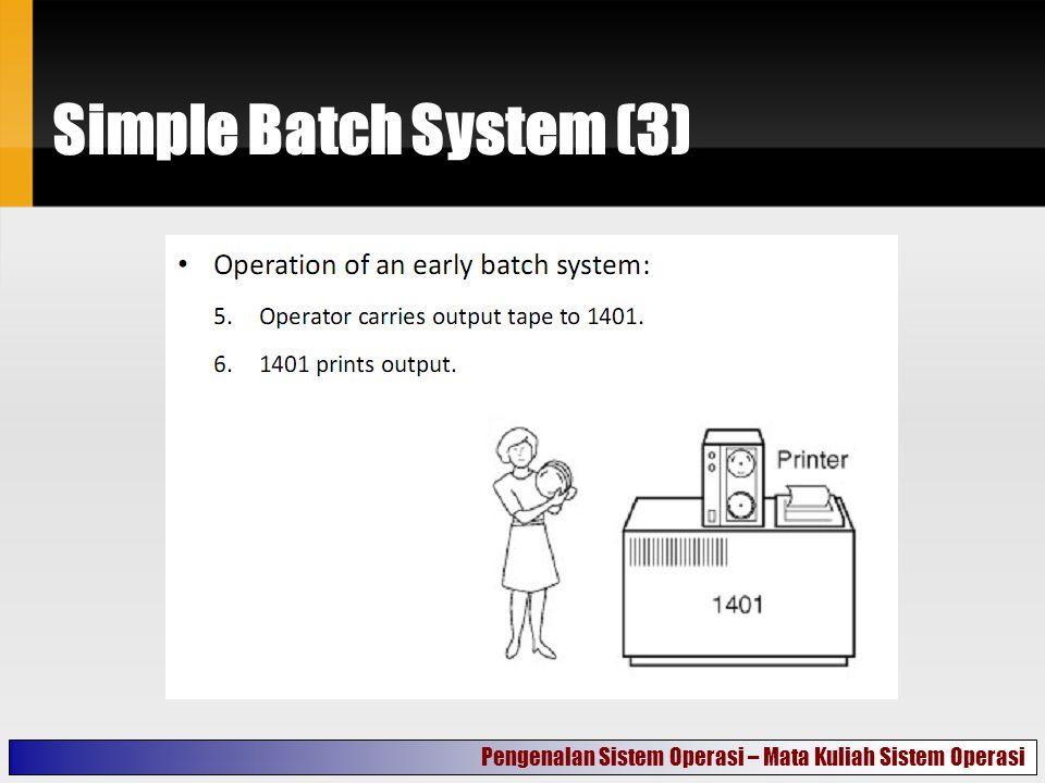 Simple Batch System (3) Pengenalan Sistem Operasi – Mata Kuliah Sistem Operasi