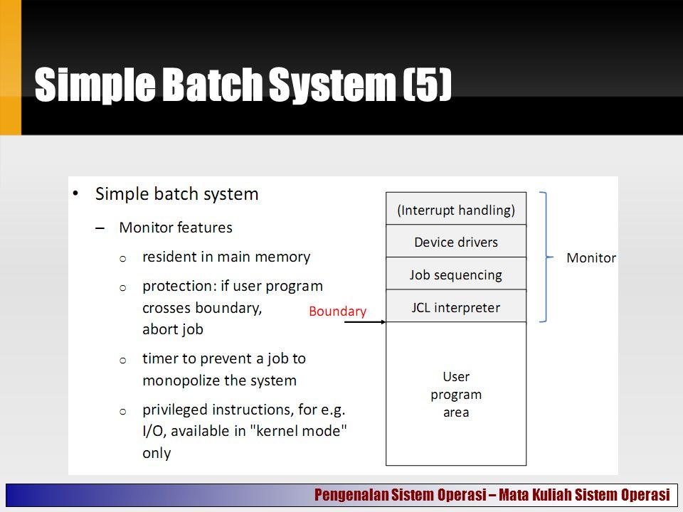Simple Batch System (5) Pengenalan Sistem Operasi – Mata Kuliah Sistem Operasi