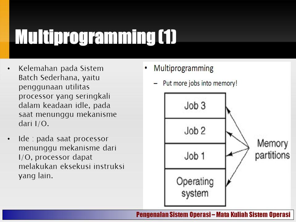 Multiprogramming (1) Kelemahan pada Sistem Batch Sederhana, yaitu penggunaan utilitas processor yang seringkali dalam keadaan idle, pada saat menunggu mekanisme dari I/O.