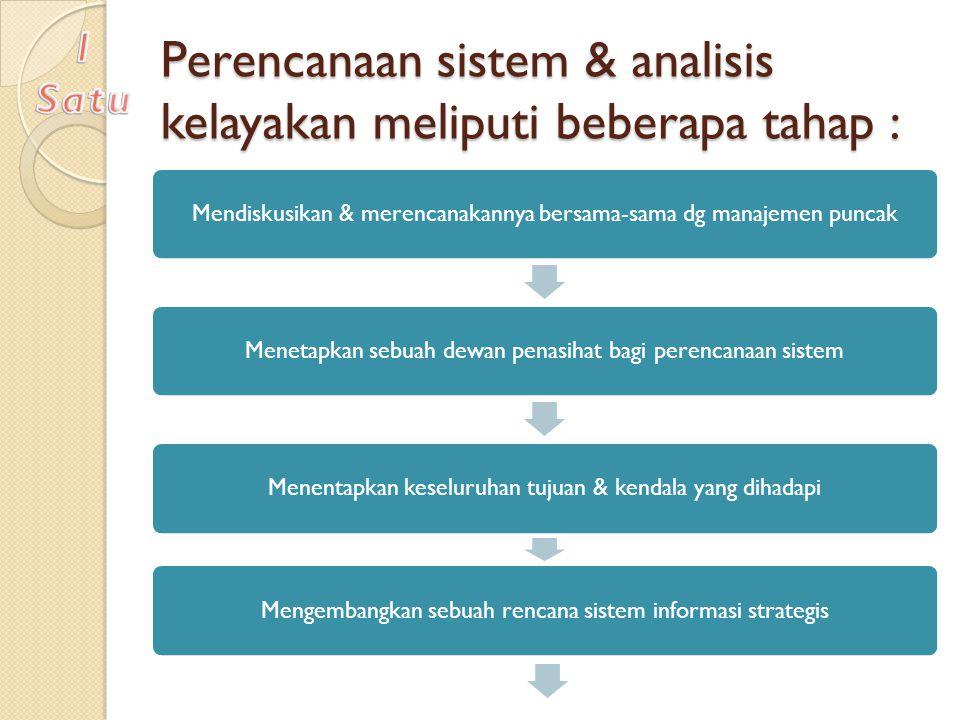 Perencanaan sistem & analisis kelayakan meliputi beberapa tahap : Mendiskusikan & merencanakannya bersama-sama dg manajemen puncakMenetapkan sebuah de