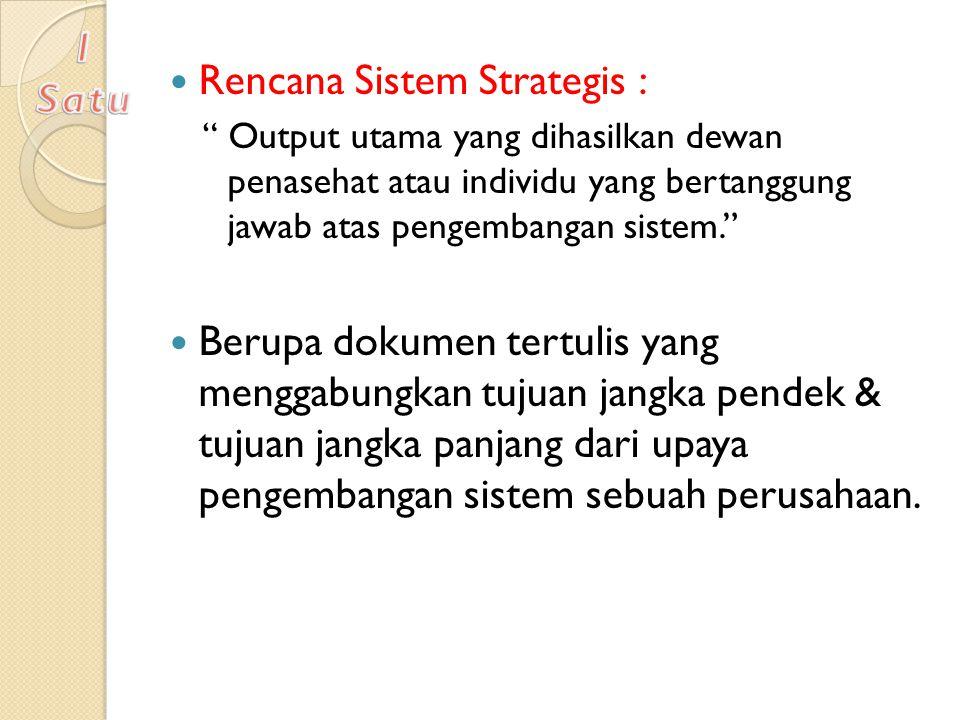 """Rencana Sistem Strategis : """" Output utama yang dihasilkan dewan penasehat atau individu yang bertanggung jawab atas pengembangan sistem."""" Berupa dokum"""