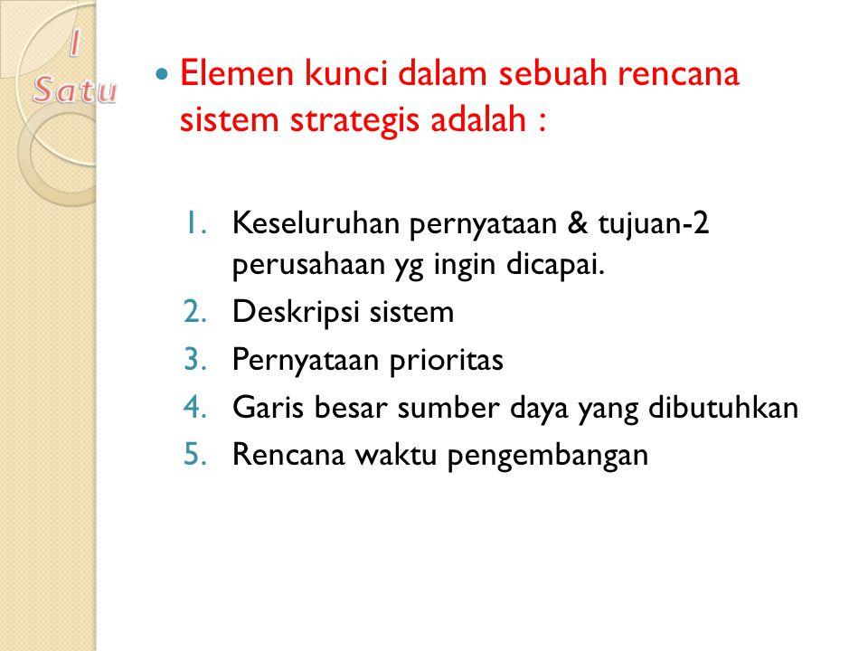 Elemen kunci dalam sebuah rencana sistem strategis adalah : 1.Keseluruhan pernyataan & tujuan-2 perusahaan yg ingin dicapai. 2.Deskripsi sistem 3.Pern
