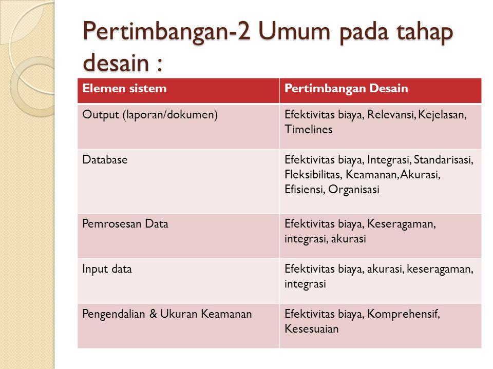 Pertimbangan-2 Umum pada tahap desain : Elemen sistemPertimbangan Desain Output (laporan/dokumen)Efektivitas biaya, Relevansi, Kejelasan, Timelines Da