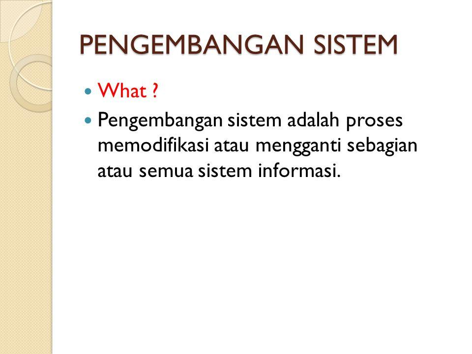 PENGEMBANGAN SISTEM What ? Pengembangan sistem adalah proses memodifikasi atau mengganti sebagian atau semua sistem informasi.