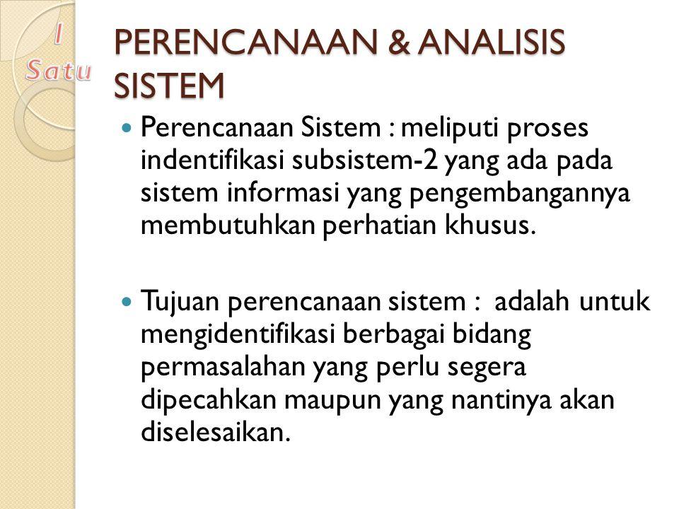 PERENCANAAN & ANALISIS SISTEM Perencanaan Sistem : meliputi proses indentifikasi subsistem-2 yang ada pada sistem informasi yang pengembangannya membu