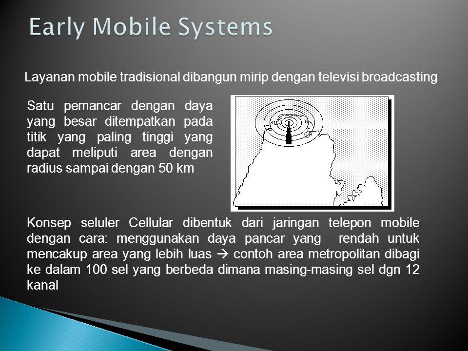 Early Mobile Radio Systems –Satu pemancar dengan daya pancar yang besar –Area cakupan yang bagus, tetapi tidak memungkinkan dilakukan penggunaan ulang ( reuse) frekuensi yang sama (e.g., Bell Mobile System '70 -- max 12 calls over thousand sq.