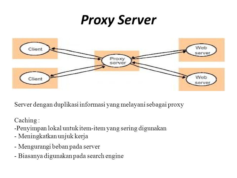 Proxy Server Server dengan duplikasi informasi yang melayani sebagai proxy Caching : -Penyimpan lokal untuk item-item yang sering digunakan - Meningka