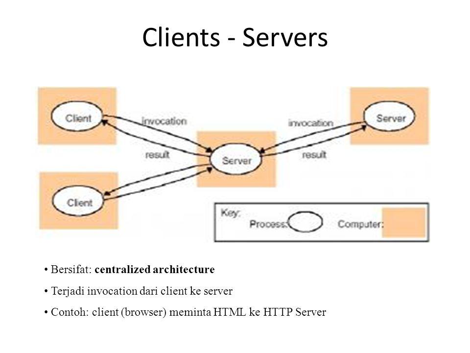 Clients - Servers Bersifat: centralized architecture Terjadi invocation dari client ke server Contoh: client (browser) meminta HTML ke HTTP Server