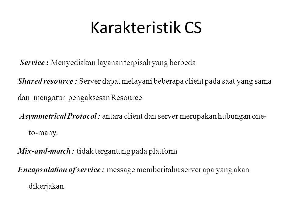 Karakteristik CS Service : Menyediakan layanan terpisah yang berbeda Shared resource : Server dapat melayani beberapa client pada saat yang sama dan m