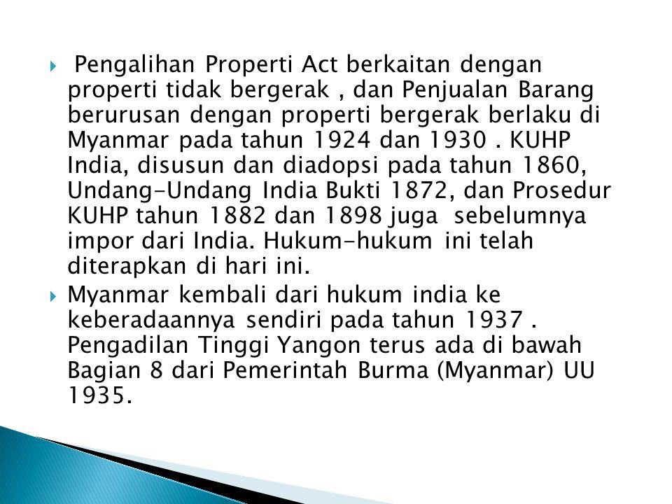  Pengalihan Properti Act berkaitan dengan properti tidak bergerak, dan Penjualan Barang berurusan dengan properti bergerak berlaku di Myanmar pada tahun 1924 dan 1930.