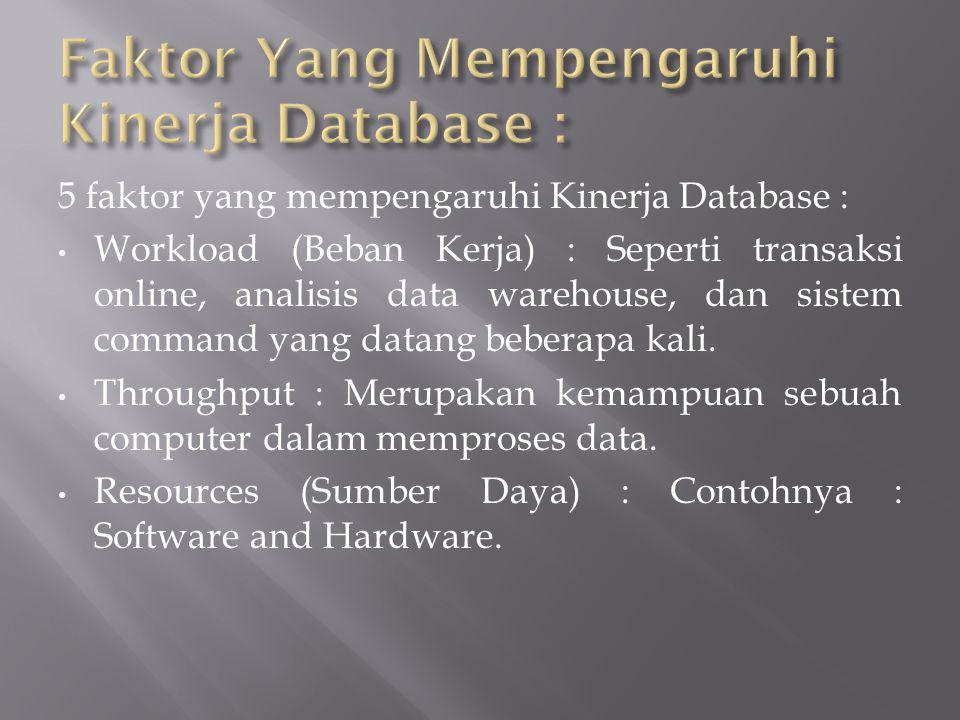 5 faktor yang mempengaruhi Kinerja Database : Workload (Beban Kerja) : Seperti transaksi online, analisis data warehouse, dan sistem command yang data