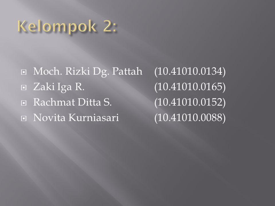  Moch. Rizki Dg. Pattah(10.41010.0134)  Zaki Iga R.(10.41010.0165)  Rachmat Ditta S.(10.41010.0152)  Novita Kurniasari(10.41010.0088)