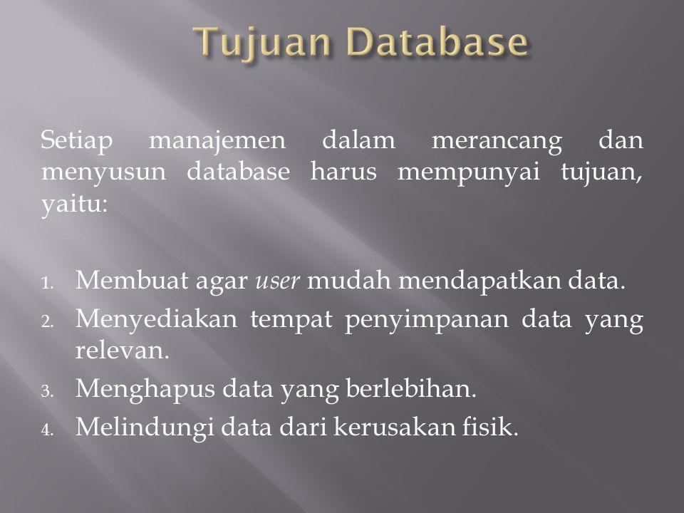 Setiap manajemen dalam merancang dan menyusun database harus mempunyai tujuan, yaitu: 1. Membuat agar user mudah mendapatkan data. 2. Menyediakan temp