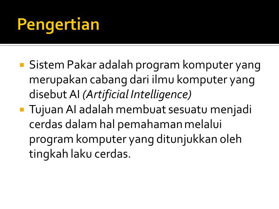  Sistem Pakar adalah program komputer yang merupakan cabang dari ilmu komputer yang disebut AI (Artificial Intelligence)  Tujuan AI adalah membuat sesuatu menjadi cerdas dalam hal pemahaman melalui program komputer yang ditunjukkan oleh tingkah laku cerdas.