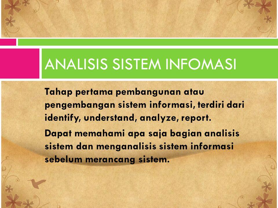 Tahap pertama pembangunan atau pengembangan sistem informasi, terdiri dari identify, understand, analyze, report. Dapat memahami apa saja bagian anali