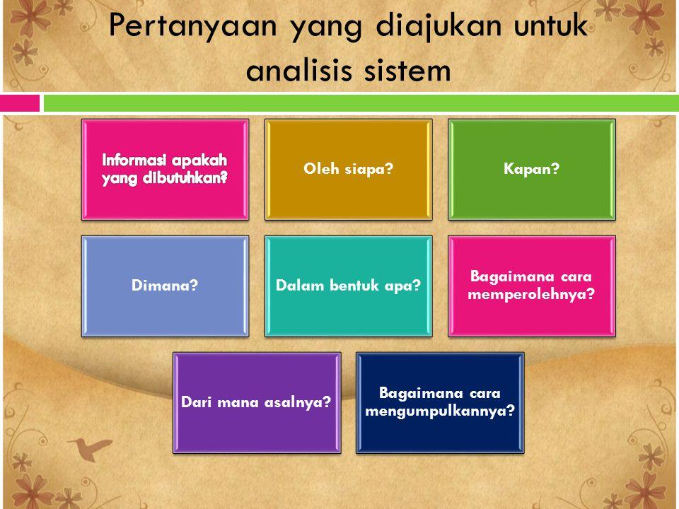 Pertanyaan yang diajukan untuk analisis sistem Oleh siapa?Kapan? Dimana?Dalam bentuk apa? Bagaimana cara memperolehnya? Dari mana asalnya? Bagaimana c