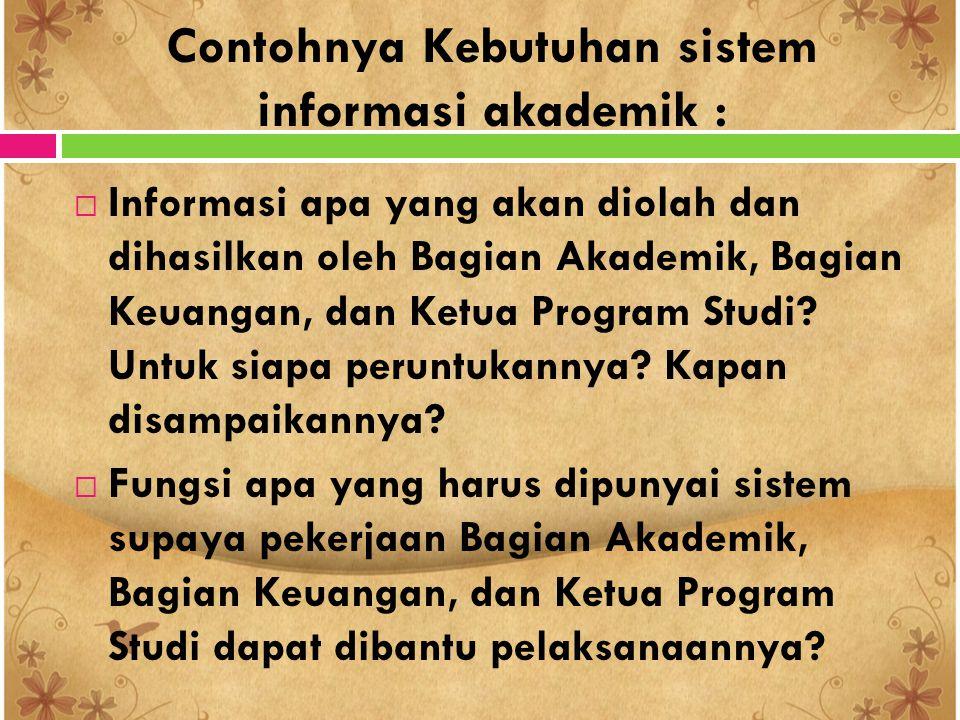 Contohnya Kebutuhan sistem informasi akademik :  Informasi apa yang akan diolah dan dihasilkan oleh Bagian Akademik, Bagian Keuangan, dan Ketua Progr