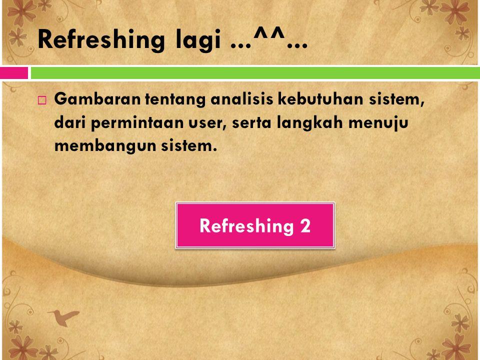 Refreshing lagi...^^...  Gambaran tentang analisis kebutuhan sistem, dari permintaan user, serta langkah menuju membangun sistem. Refreshing 2