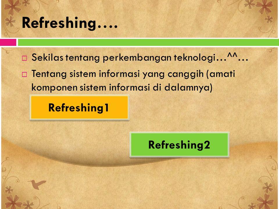 Refreshing….  Sekilas tentang perkembangan teknologi…^^…  Tentang sistem informasi yang canggih (amati komponen sistem informasi di dalamnya) Refres