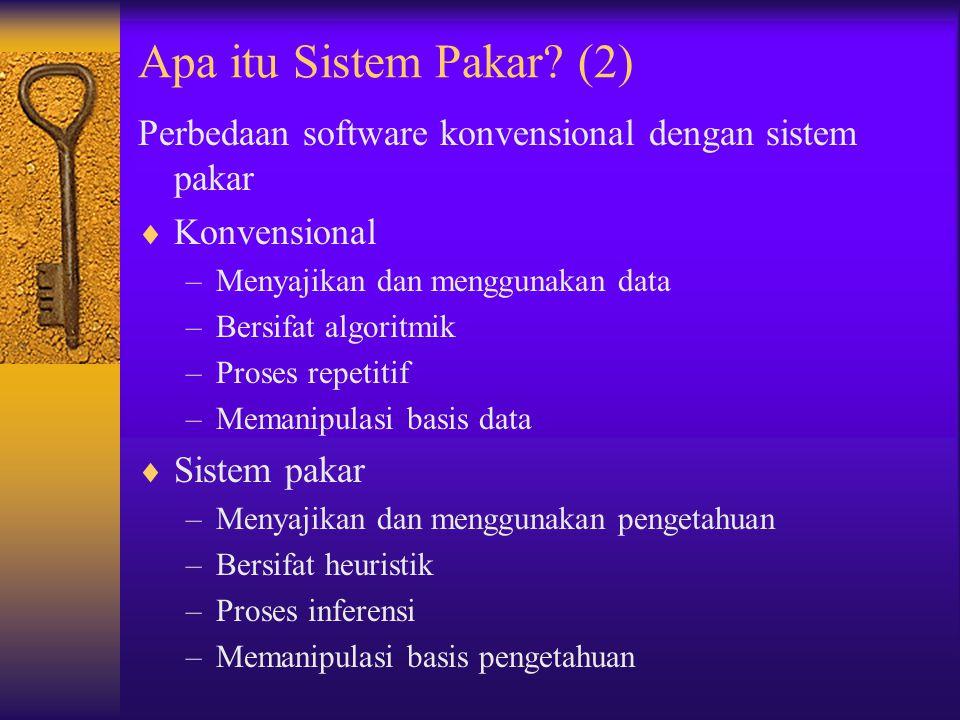Perbedaan software konvensional dengan sistem pakar  Konvensional –Menyajikan dan menggunakan data –Bersifat algoritmik –Proses repetitif –Memanipula
