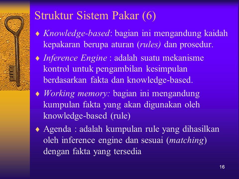 Struktur Sistem Pakar (6)  Knowledge-based: bagian ini mengandung kaidah kepakaran berupa aturan (rules) dan prosedur.  Inference Engine : adalah su