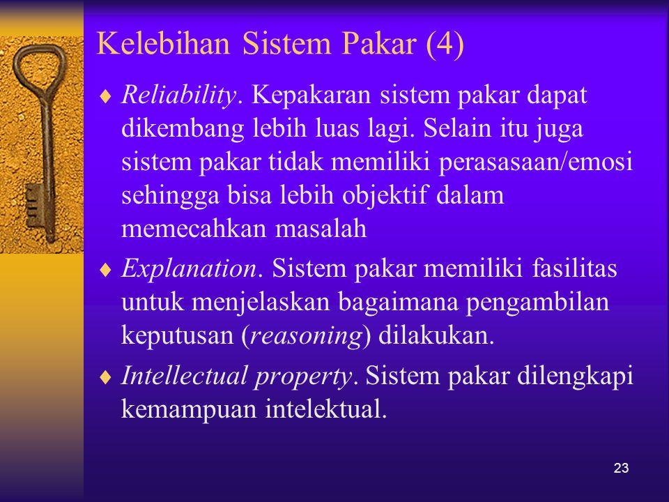 Kelebihan Sistem Pakar (4)  Reliability. Kepakaran sistem pakar dapat dikembang lebih luas lagi. Selain itu juga sistem pakar tidak memiliki perasasa
