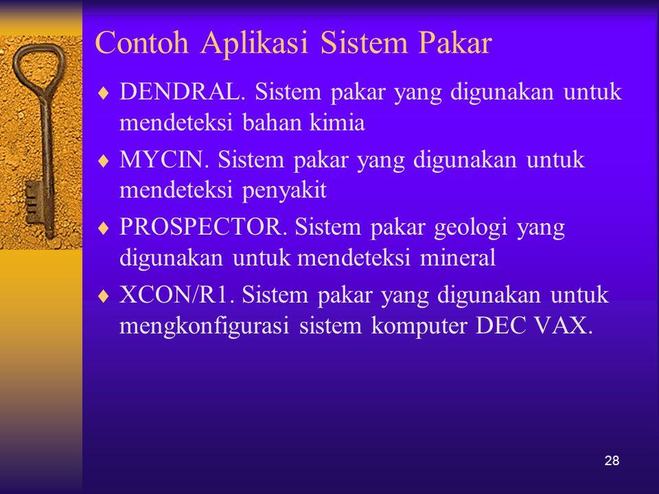 Contoh Aplikasi Sistem Pakar  DENDRAL. Sistem pakar yang digunakan untuk mendeteksi bahan kimia  MYCIN. Sistem pakar yang digunakan untuk mendeteksi