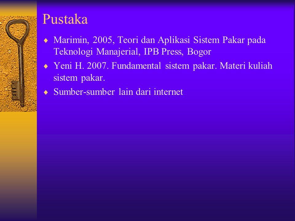 Pustaka  Marimin, 2005, Teori dan Aplikasi Sistem Pakar pada Teknologi Manajerial, IPB Press, Bogor  Yeni H. 2007. Fundamental sistem pakar. Materi