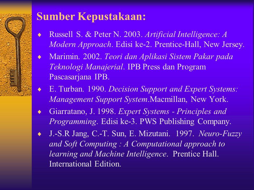 Sumber Kepustakaan:  Russell S. & Peter N. 2003. Artificial Intelligence: A Modern Approach. Edisi ke-2. Prentice-Hall, New Jersey.  Marimin. 2002.