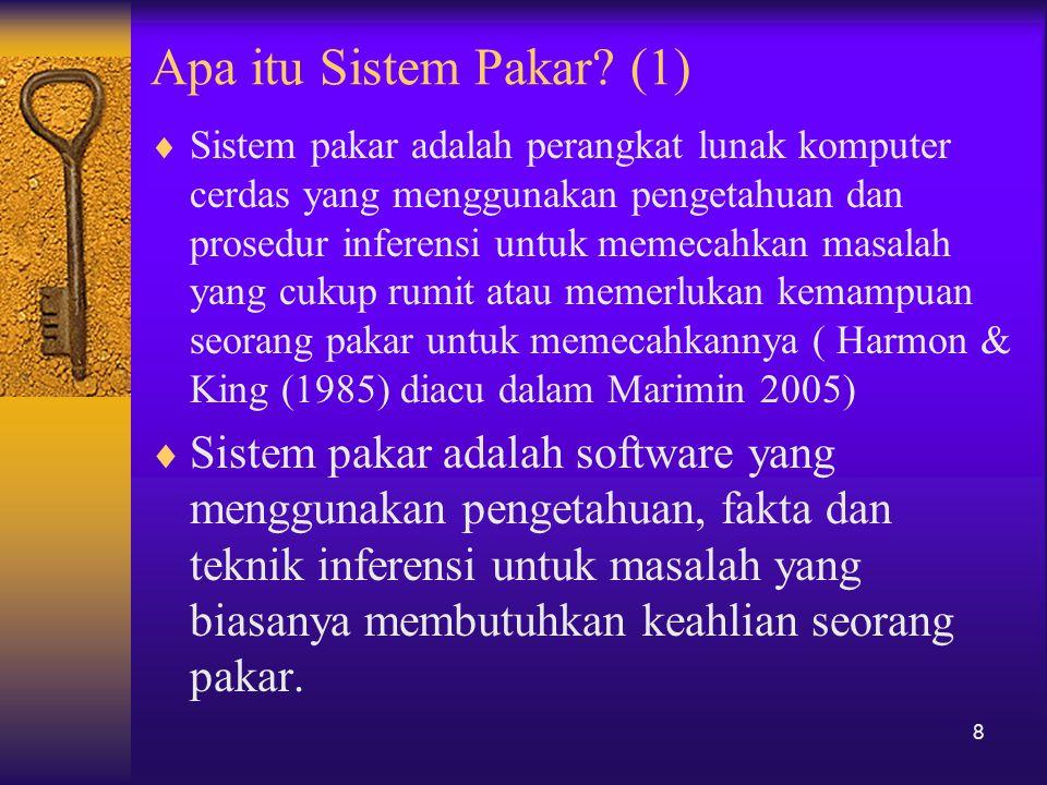 Apa itu Sistem Pakar? (1)  Sistem pakar adalah perangkat lunak komputer cerdas yang menggunakan pengetahuan dan prosedur inferensi untuk memecahkan m